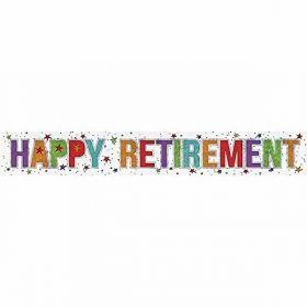 Happy Retirement Holographic Foil Banner