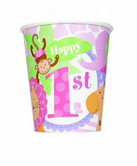 1st Birthday Pink Safari Paper cups pk8