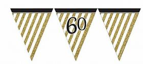 Black & Gold 60th Birthday Flag Bunting
