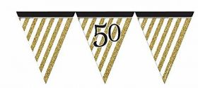 Black & Gold 50th Birthday Flag Bunting