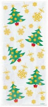 Golden Christmas Cello Bags pk20