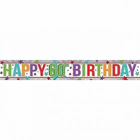 Multi Colour Happy 60th Birthday Holographic Foil Banner