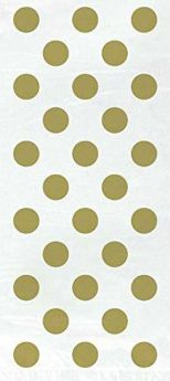 Gold Polka Cellophane Gift Bags pk 20