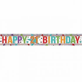 Multi Colour Happy 21st Birthday Holographic Foil Banner