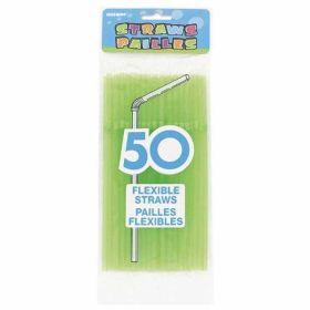 50  Neon Designer Flex Straws - Green