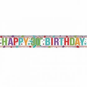 Multi Colour Happy 30th Birthday Holographic Foil Banner