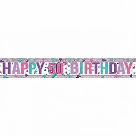 Pink Happy 50th Birthday Holographic Foil Banner 2.7m