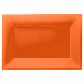 Orange Plastic Serving Trays, 3pk