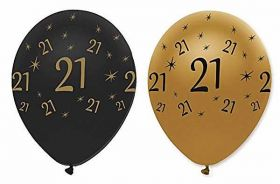 21st Gold and Black Balloons pk6