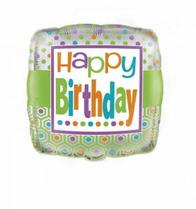 Happy Birthday Day Foil Balloon - Citrus Dots