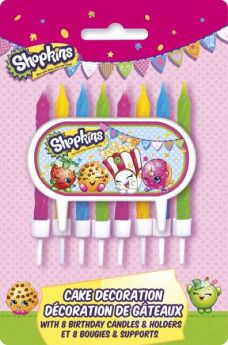 Shopkins Cake Decoration with 8 Birthday Candles & Holders