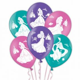 Disney Princess 4 Sides Latex Balloons pk6