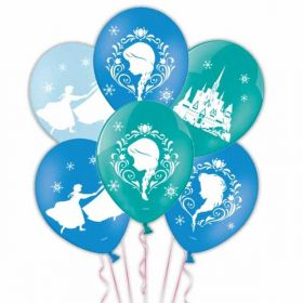 Frozen 4 Sided Colour Printed Latex Balloons pk6