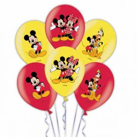 Mickey Mouse 4 Colour Latex Balloons pk6