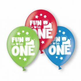 Fun to be One Latex Balloons pk6