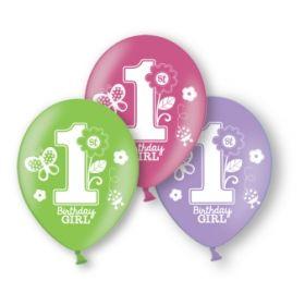Sweet Girl 1st Birthday Latex Balloons pk10