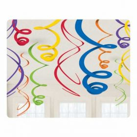 Rainbow Hanging Swirls Decorations pk12