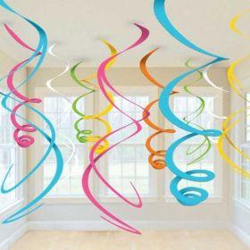 Multi-Colours Plastic Swirls Decorations pk12