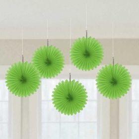 Kiwi Green Hanging Mini Fans 5pk