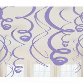 Purple Plastic Swirl Decorations pk12