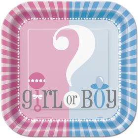Gender Reveal Square Plates 7'' pk10