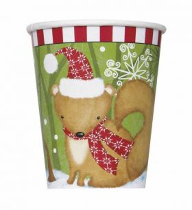 Woodland Christmas Cups pk8