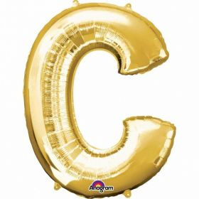 Letter C Supershape Gold Foil Balloon