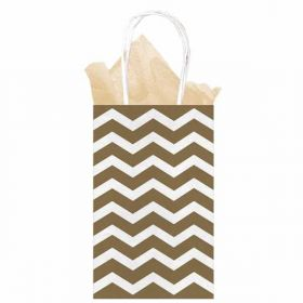 Gold Chevron Paper Gift Bag