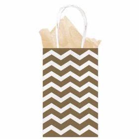 Gold Chevron Paper Gift Bag