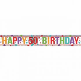 Multi Colour Happy 50th Birthday Holographic Foil Banner