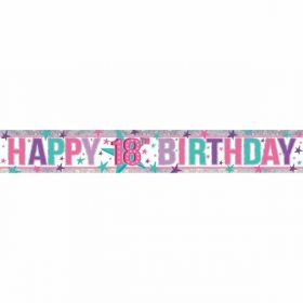 Happy 18th Birthday Holographic Foil Banner