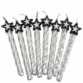 Silver Candles with Star pk8