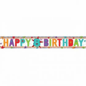 Happy 8th Birthday Holographic Foil Banner