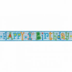 Happy 1st Birthday Boy Holographic Foil Banner