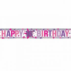 Happy 16th Birthday Holographic Foil Banner