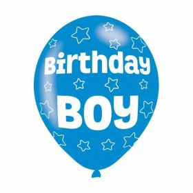 All Round Birthday Boy Party Balloons 6pk