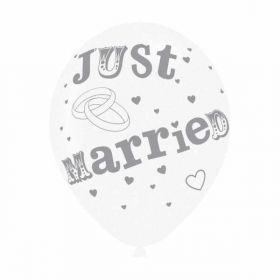 Just Married Latex Balloons pk6