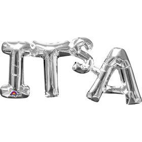 """It's A"" Phrase Silver Supershape Foil Balloon"