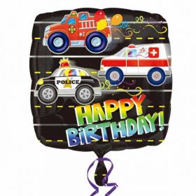Happy Birthday Rescue Vehicles Standard Foil Balloon