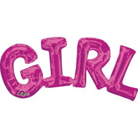 """Girl"" Phrase Pink Supershape Foil Balloon"