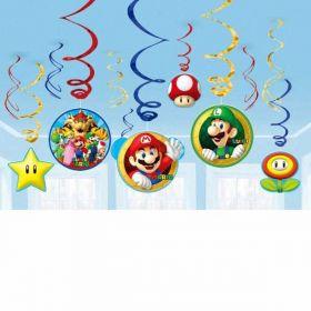 Super Mario Swirl Decorations pk12