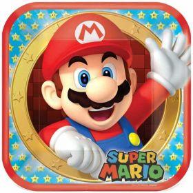 Super Mario Square Paper Plates 23cm, pk8