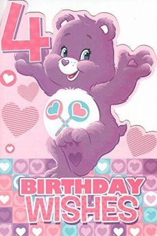 Care Bears Age 4 Birthday Wishes Card