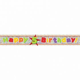 Happy 5th Birthday Holographic Foil Banner 2.7m