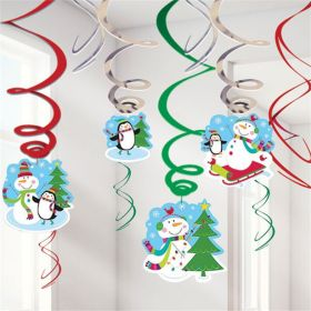 Joyful Snowman Value Pack Swirl Decorations pk12