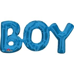 """Boy"" Phrase Blue Supershape Foil Balloon"