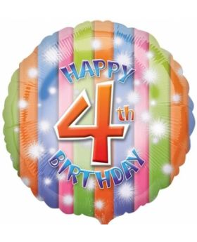 Happy 4th Birthday Circle Foil Balloon