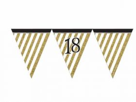 Black & Gold 18th Birthday Flag Bunting