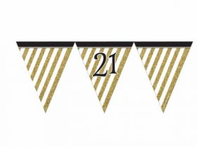 Black & Gold 21st Birthday Flag Bunting