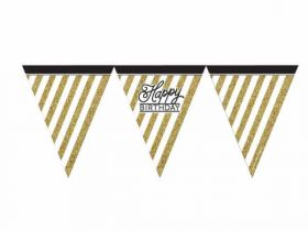 Black & Gold Happy Birthday Flag Bunting
